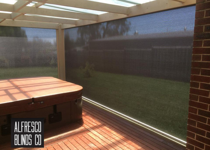 Outdoor blinds for spa