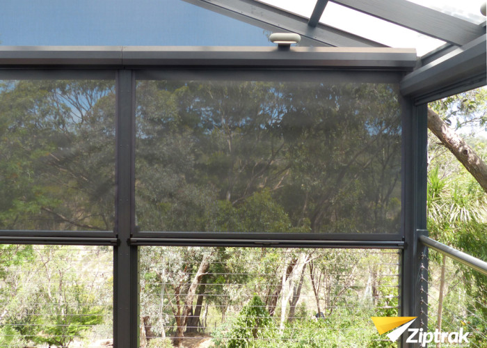 outdoor fabric mesh blind
